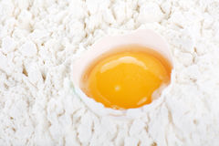 Egg with flour Stock Photos