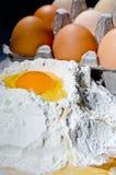 Egg on flour Stock Photos