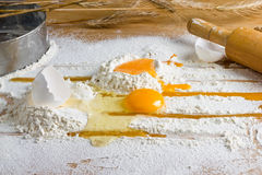 Egg in flour Royalty Free Stock Images