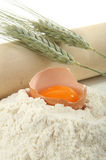Egg, flour and ear of wheat Royalty Free Stock Image
