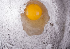 Egg and flour. Before mixing and turning into baking dough Royalty Free Stock Images