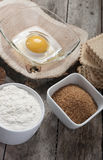 Egg flour sugar Stock Photos
