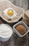 Egg flour sugar Stock Photos