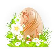 Egg with flowers & grass Royalty Free Stock Photos