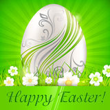 Egg with flowers on green & text Stock Photos