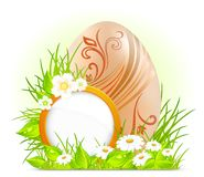 Egg with flowers & signboard Royalty Free Stock Image