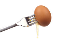 Egg on a fork Stock Photography