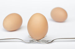 Egg on the forks and white background Royalty Free Stock Photo