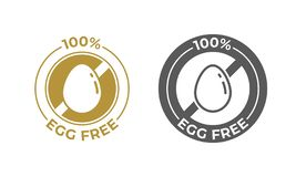 Egg free food vector icon. Food package 100 percent egg free ingredients, food allergy information label royalty free illustration