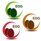 Egg free symbols  on white background. Silhouettes eggs in a circle with shadow. Royalty Free Stock Image