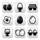 Egg, fried egg, egg box buttons set Royalty Free Stock Photos