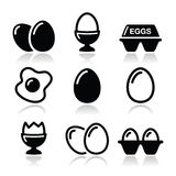 Egg, fried egg, egg box icons set Stock Image