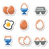 Egg, fried egg, egg box icons set Stock Images