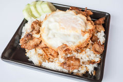 Egg fried and fried pork garlic with soy sauce Royalty Free Stock Photo