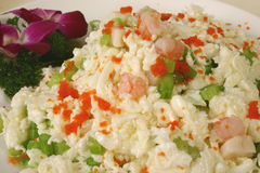 Egg fried rice. Background of fried rice with shrimp, ham, bbq pork and egg Royalty Free Stock Photo