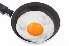Egg in a fryer isolared on white Royalty Free Stock Photography