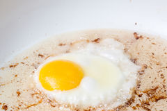 Egg frying in bacon grease. On stove top Royalty Free Stock Photography
