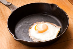 Egg in Frying Pan Stock Photo