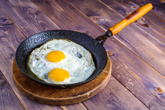 Egg in Frying Pan. On the wood desk Stock Photo
