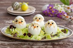 Egg fun appetizers for kids Royalty Free Stock Image