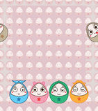 Egg fun face face frame seamless pattern Royalty Free Stock Images