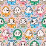 Egg fun face symmetry seamless pattern Royalty Free Stock Images