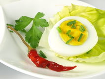 Egg with garnish on isolated background Stock Images