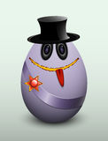 Egg gentleman in the hat. Egg gentleman in a hat and the medal on the ribbon Stock Images