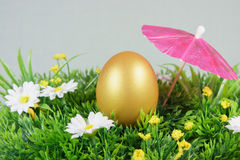 Egg on a green artificial grass. With white flowers parasol royalty free stock photo