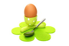 Egg in the green stand. Stock Image