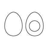 Egg and half of egg. Whole egg and half of egg. Line  illustration Royalty Free Stock Photography