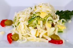 Egg and ham salad. Served parsley royalty free stock images