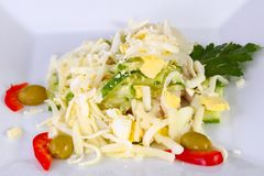 Egg and ham salad. Served parsley stock images