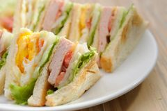 Egg and ham sandwiches Stock Photography