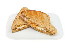Egg and ham toasted sandwich Royalty Free Stock Image
