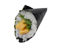 Egg hand roll-temaki egg Royalty Free Stock Image