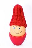 Egg with hat. Abstract image of a smiling egg wearing knitted woolen hat, isolated on white background Royalty Free Stock Photo
