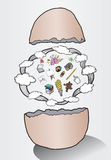 Egg hatching ideas illustration with clouds Royalty Free Stock Image