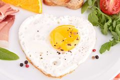 Egg heart, breakfast Stock Image