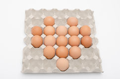 Egg heart shape in tray Royalty Free Stock Photo