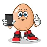 Egg holding phone mascot vector cartoon illustration vector illustration