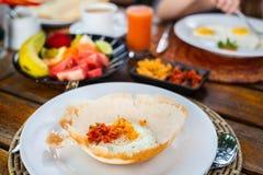 Egg hopper Sri Lankan breakfast. Traditional Sri Lankan breakfast with egg hoppers Royalty Free Stock Images