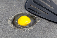 Egg on hot road surface beginning to fry Stock Photography