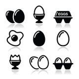 Egg, huevo frito, iconos del cartón de huevos fijados Imagen de archivo