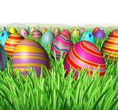 Egg Hunt. And hunting for Easter eggs in a field of green grass after an Easter bunny was hiding the decorated oval spheres for children to find and search as a stock illustration