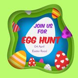Egg hunt. Colorful Easter banner. Background in paper cut, paper craft style. Invitations for kids and children. Spring Seasonal g. Reetings and other vector illustration
