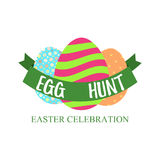 Egg Hunt and Easter celebration lettering. Isolated on white vector illustration. Stock Photos