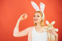 Egg hunt. Easter eggs as traditional food. Spring holiday. Girl with hare toy. Woman in rabbit bunny ears. happy woman. In bunny ears with toy. Happy easter stock image