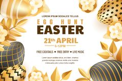 Egg hunt Easter banner, poster or flyer template. Vector 3d gold and black realistic eggs and leaves illustration. Egg hunt Easter horizontal banner template royalty free illustration
