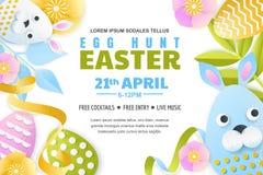 Egg hunt Easter horizontal banner template. Holiday poster or flyer layout. Vector 3d paper cut style illustration vector illustration